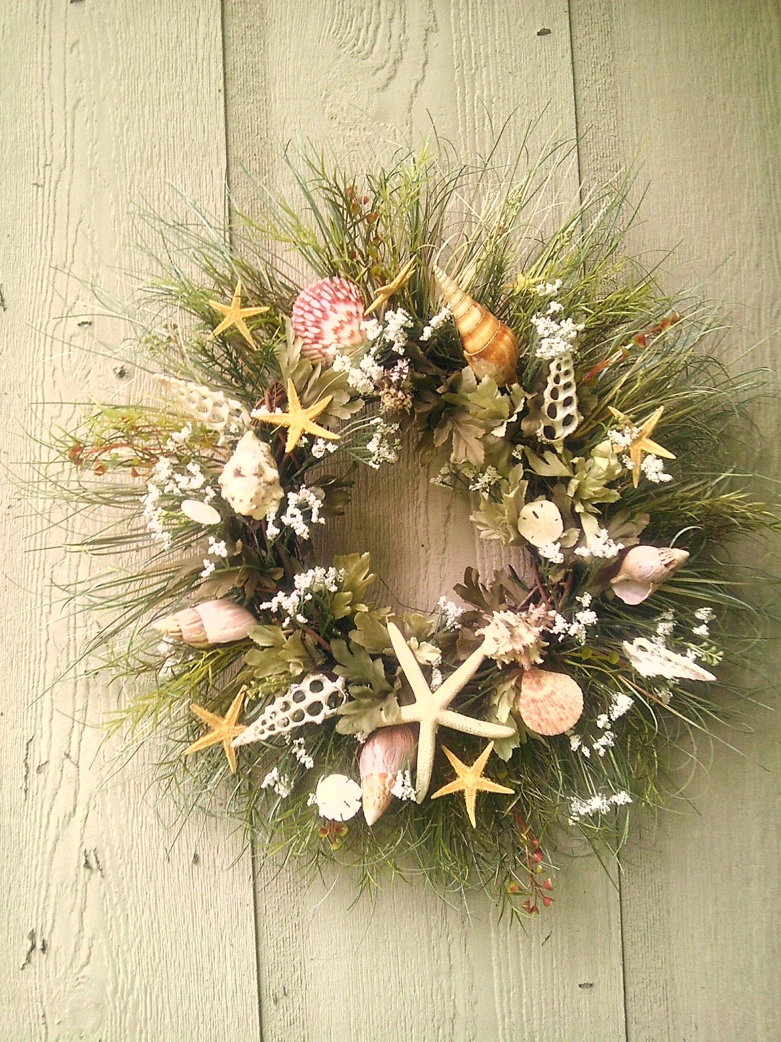 Seashell Beach Coastal Front Door Or Wall Wreath With Shells
