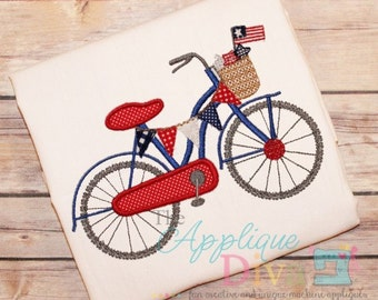 4th of July Bike USA Digital Embroidery Design Machine Applique