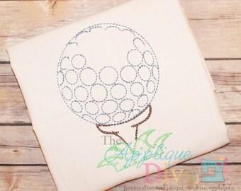 Vintage Stitch Golf Ball Digital Embroidery Design Machine Applique