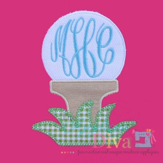 summer monogram golf ball embroidery design machine applique