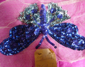 faceted sequins embroidered butterfly