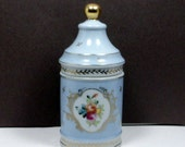 Sale Vanity Jar Cotton Holder Blue Parisienne French Porcelain Apothecary Jar Vintage 1950s