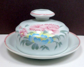 Round Covered Butter Dish Porcelain Schmidt Porcelana Pink Blue Flowers Server Brazil 1970s