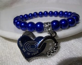 Big Keep Me In Your Heart Charm- Blue Pearl- Beaded Stretch Bracelet  (347)