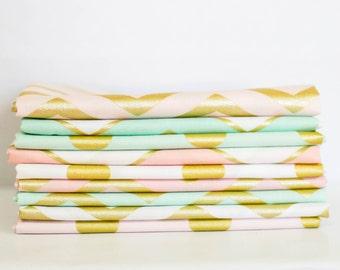 Glitz Fabric Bundle -  Fat Quarter Bundle - 9 quarter fat pieces (B341)