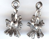 CAMPFIRE Charm. Sterling Silver Plated Pewter. 3D Camp Fire. Made in the USA.