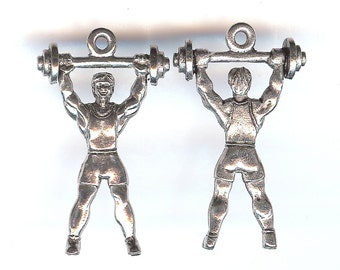 WEIGHT LIFTER Charm. Pewter. Two Sided. Weight Training. Body Builder. Made in the USA.