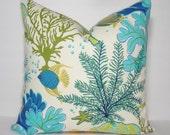 OUTDOOR Ocean Fish Coral Blue Pillow Outdoor Pillow Cushion Covers Porch Pillow Pool Pillow 18x18