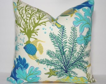 OUTDOOR Ocean Fish Coral Blue Pillow Outdoor Pillow Cushion Covers Porch Pillow Pool Pillow 18x18