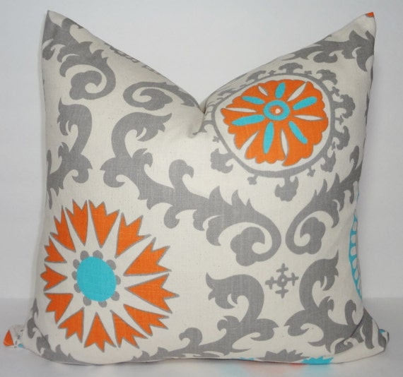 sale turquoise blue grey orange suzani pillow cover decorative. Black Bedroom Furniture Sets. Home Design Ideas