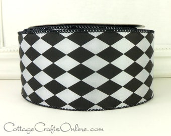 """Wired Ribbon, 2 1/2"""" wide, Black and White Harlequin Diamond - TWENTY FIVE YARD Roll - Offray """"Court Jester"""" Craft Wire Edged Ribbon"""