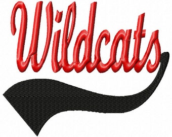 Wildcats - Swoosh - NO Outline - Machine Embroidery Design - 13 Sizes