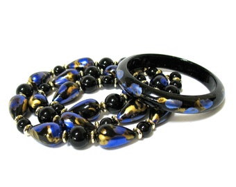 Beaded Necklace Bangle Set, black beads, hand painted metallic blue gold, abstract design, Gift Idea, Excellent