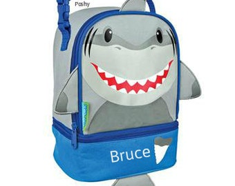 Personalized Boys Lunch Box Bag Stephen Joseph Lunch Pals in Shark