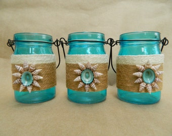 Deep Aqua Petite Hanging Jars with Jute and Seashell Flower