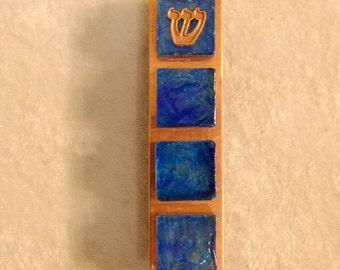 Stained Glass Tile Mezuzzah - Iridescent Capri Blue