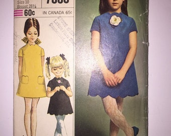 50% OFF COUPON CODE 70's Vintage Simplicity Pattern 7886 - Girls' Dress Size 10