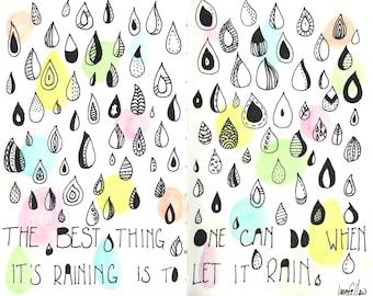 Rain - Art Journal Print - 8x10