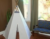 Pinwheel quilted top 5 sided eggshell teepee tent with wood polls