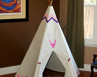 With my tribe ultimate indoor/outdoor 5 sided pink and purple painted deer head Ivory teepee with stained wooden polls