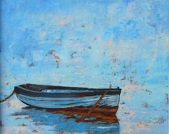 """Art Print of  """"Row Boat Cast Adrift""""  from an  Original Oil Painting 8 x 8 or 11 x 11 inches"""