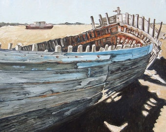 """Boat Art Print. Weathered Boat Skeleton. Print of my Abandoned  Boat Oil painting 8"""" x 8"""""""