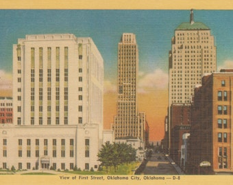Oklahoma City, Oklahoma, First Street  - Linen Postcard - Unused (V)