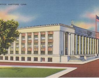 Harford, Connecticut, Post Office - Linen Postcard - Unused (HHH)
