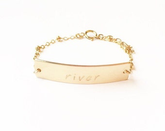 Baby Name Plate Bracelet, baby shower bracelet, shower gift, baby gift, gold baby jewelry, stamped baby bracelet