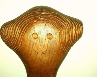 Folk Art Carved Woman in Cutting Board , Signed , Maple