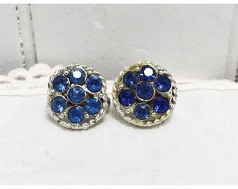 Vintage 1960s Silver & Blue Rhinestone Earrings