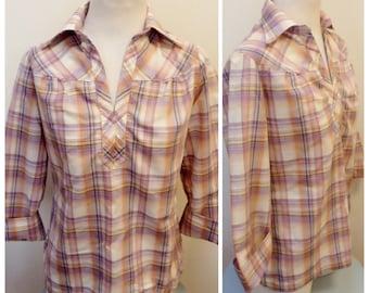 Vintage 1980s Pink Plaid Boho Shirt - L
