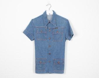 Vintage 70s Denim Shirt 1970s Work Shirt Blue Jean Overall Short Coverall Shirt Wrangler Short Wrangler Denim Western Shirt Top M L Large