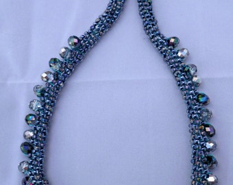 """Beaded Kumihimo Fringe Necklace, bead necklace, Mothers Day gifts, statement necklace """"Midnight at the Oasis"""""""