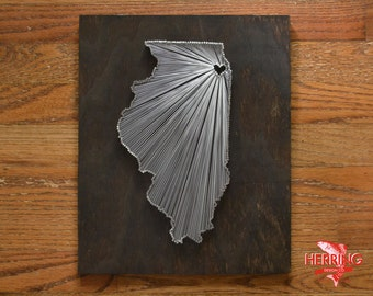 Stained Illinois String Art - Chicago, Illinois - Stained Nail Art - Windy City - Bean Town