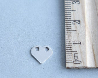 925 Sterling Silver Heart Charm, Silver Heart Charm, Sterling silver Blank Tag, Tiny Silver Heart, Sterling Silver Heart, 10mm  ( 1 piece )