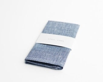 Casual pocket square, white and blue handkerchief