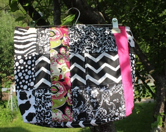 Quilted Patchwork Tote Bag black, White and Pink