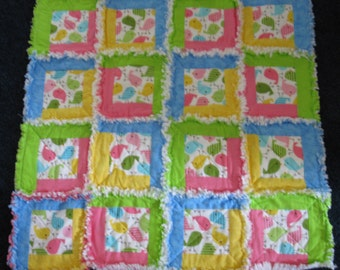 Babies Colorful Log Cabin crib quilt Rag Quilt