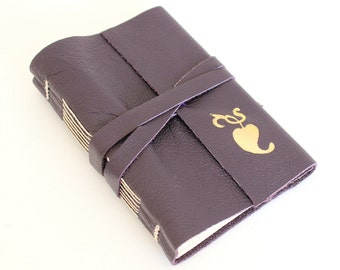 Purple Leather Journal Sketchbook with Gilded Heart