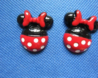 20 Cute Resin Dots Mickey Mouse with bow 26mm Flatback B215