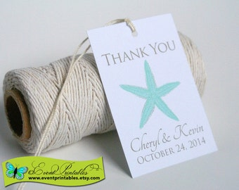Printable Beach Wedding Favor Tags, Starfish Thank You Tags, DIY Bridal Shower Gift Tags, Custom Personalized Tags by Event Printables