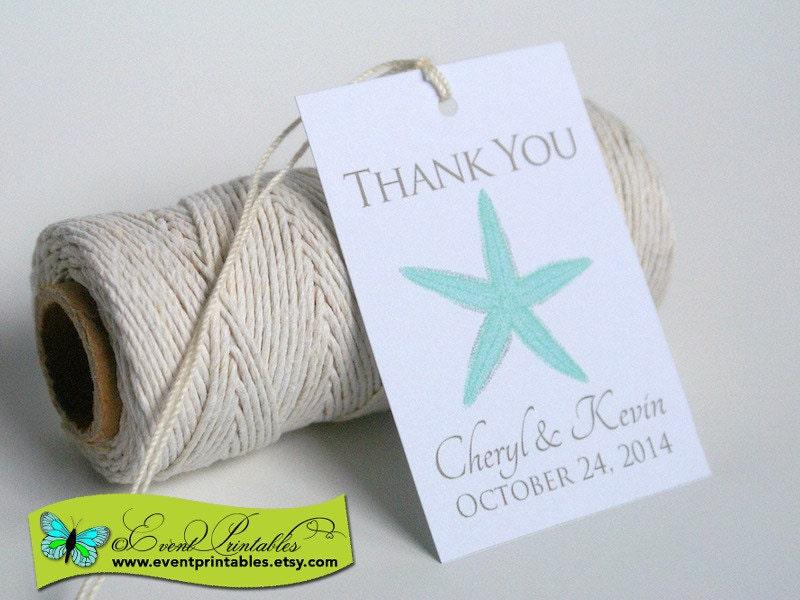 Wedding Favor Tags Beach : Printable Beach Wedding Favor Tags Starfish Thank You Tags