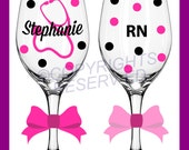 Personalized NURSING Tall Wine Glasses for RN LPN or BsN w/ Stethoscope & Name Nurse Nursing Student Gift Polka Dots