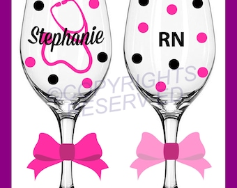 Personalized NURSING Wine Glass for RN LPN or BsN w/ Stethoscope & Name Nurse Nursing Student Gift Polka Dots