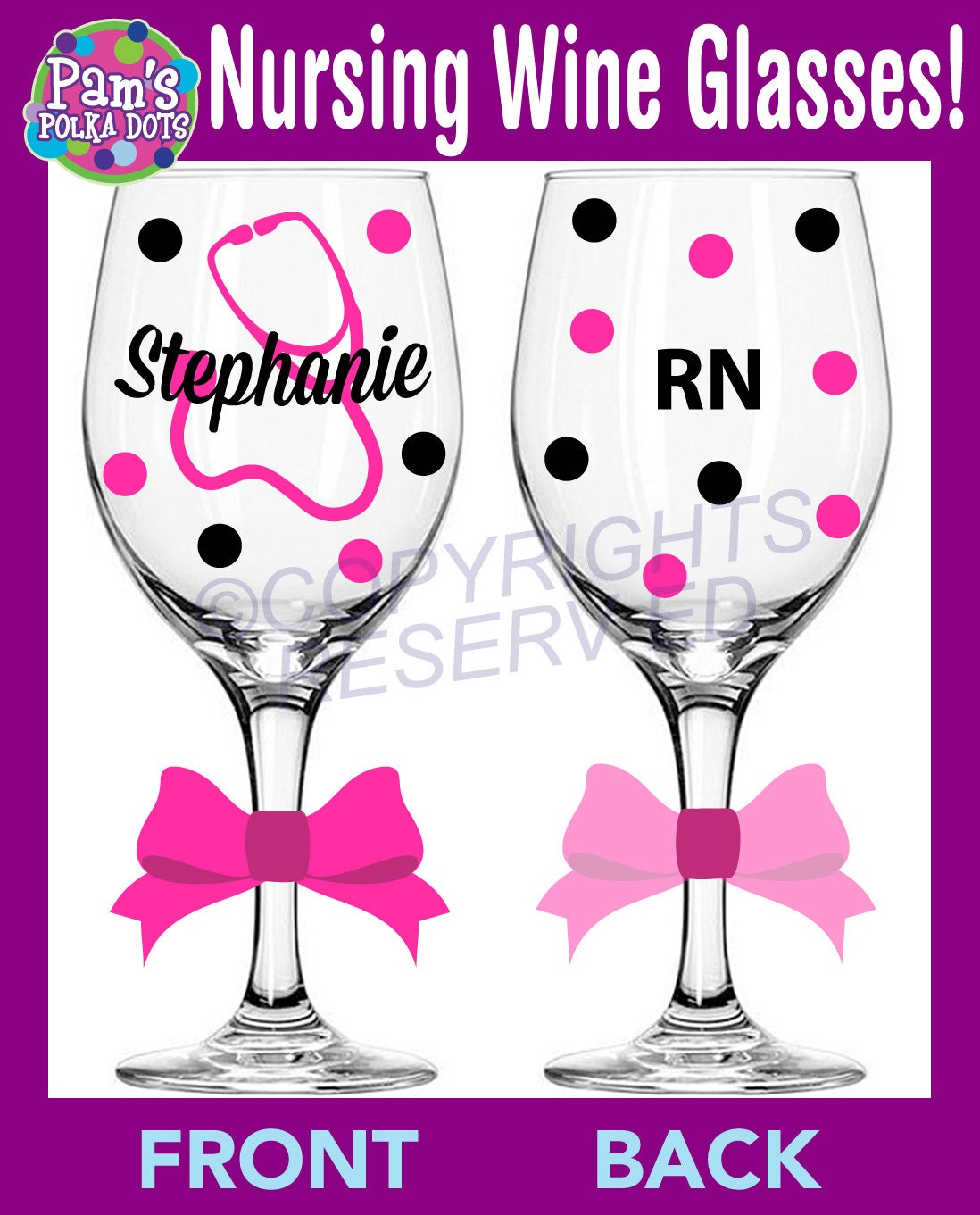 Personalized NURSING Wine Glass For RN LPN Or BsN W Stethoscope Name Nurse Nursing Student Gift Polka Dots