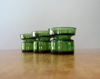Three Vintage Dansk Green Glass Candle Holders