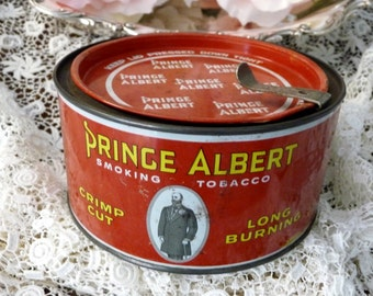 Prince Albert 7oz Tobacco Tin with Lid  Federal Stamp No Longer Needed Sticker
