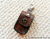100% hand stitched handmade brown marbled pattern cowhide leather car remote key fob holder with swivel snap hook and key ring