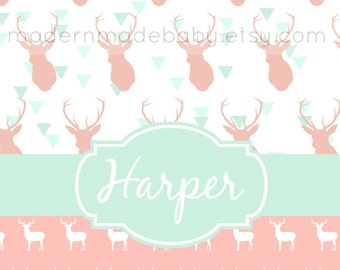 "Personalized Soft Fleece Swaddle Blanket - Pink and Mint Deer - 29"" X 39"""
